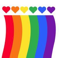 bandiera arcobaleno Simbolo LGBT sul cuore vettore