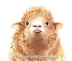 Acquerello Pecore con illustrazione della lingua per la stampa. vettore