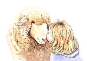 La ragazza dell'acquerello bacia l'illustrazione delle pecore.