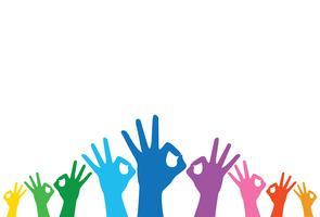 arcobaleno mani ok segno e sfondo vettoriale