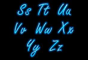 Fonte di alfabeto al neon nella parte 3 blu vettore