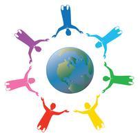 gruppo di persone arcobaleno che si tengono per mano per il mondo con amore