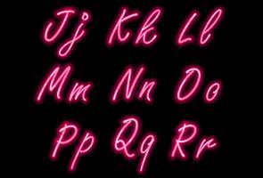 Fonte di alfabeto al neon nella parte 2 di colore rosa vettore