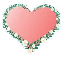 foglia di cuore pastello e corona di fiori e vettore di sfondo dello spazio