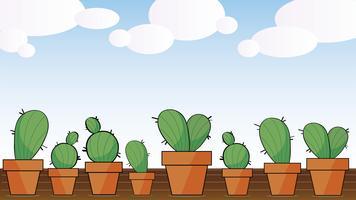 fondo di vettore di arte di cactus adorabile