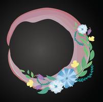 corona di fiori pastello e vettore di sfondo dello spazio