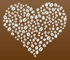 Chicchi di caffè nel vettore di forma del cuore