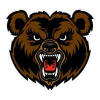 Cartone animato di orso faccia arrabbiata
