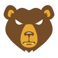 Cartone animato di orso faccia arrabbiata vettore