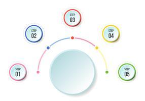 Grafico a semicerchio, modelli di infografica Timeline vettore