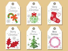 Set di tag di Natale assortiti. vettore