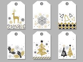 Set di tag regalo di Natale e Capodanno assortiti. vettore