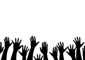 tutte le mani in alto e sfondo arte vettoriale