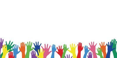 mani variopinte in su e vettore di arte della priorità bassa