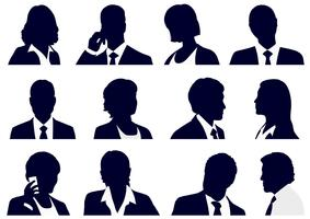 Set di sagome di persone d'affari. vettore