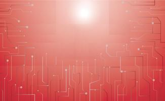 sfondo rosso tecnologia microchip vettore