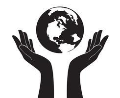 mani che tengono il vettore del mondo