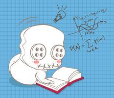La bambola carina sta imparando la matematica. vettore