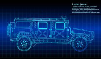 Schizzo del profilo del veicolo militare.