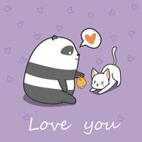 Panda sta alimentando il gatto in stile cartone animato.