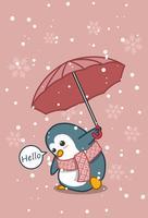 Il pinguino sta tenendo l'ombrello nello stile del fumetto. vettore