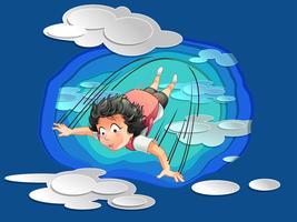 Qualcuno sta saltando dal cielo blu con nuvole in stile taglio carta. vettore