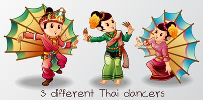 3 diversi personaggi ballerini thailandesi in stile cartoon.