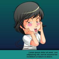 cartone animato carino timido.