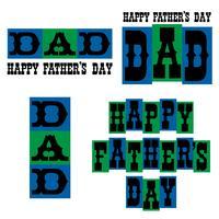 Grafica di tipografia di felice festa del papà blu e verde