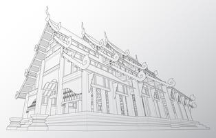 Wireframe del tempio thailandese.