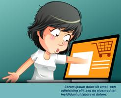 Concetti di shopping online con carattere. vettore