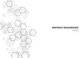 Struttura della molecola esagonale astratta del sistema dei neuroni. Sfondo tecnologia digitale. vettore