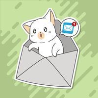 Il piccolo gatto ti parla di posta. vettore