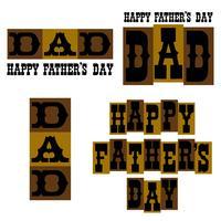 Grafica tipografia Happy Father's Day marrone e oro vettore