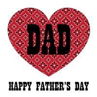 Grafico di tipografia di festa del papà con cuore rosso bandana