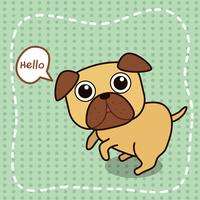 Il cane Pug dice ciao. vettore