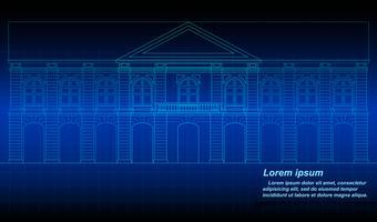 Profilo di edificio storico tailandese. vettore