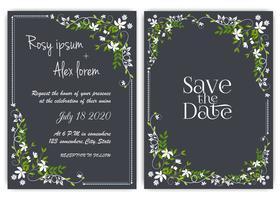 Carta di invito di nozze Cornice disegnata a mano floreale.