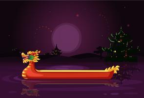 Illustrazione cinese di vettore della carta da parati di notte della nave del drago
