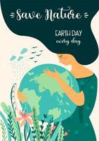 Salva la natura Giorno della Terra. Modello di vettore, elemento di design