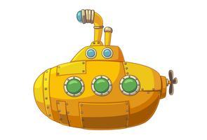 Simpatico sottomarino giallo vettore