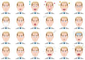 Varie espressioni facciali dell'uomo d'affari fissate. Caratteri vettoriali isolati su uno sfondo bianco.