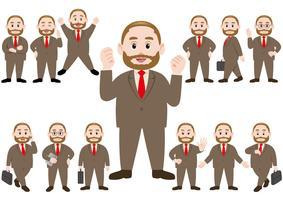 Uomo d'affari in diverse pose isolato su sfondo bianco. vettore