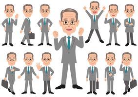 Uomo d'affari in diverse pose isolato su sfondo bianco.