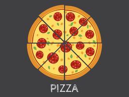 Illustrazione vettoriale intero e fetta di pizza isolato su sfondo nero