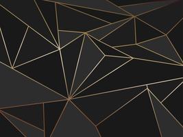 Astratto geometrico poligono nero artistico con sfondo di linea d'oro
