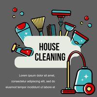 Sfondo vettoriale di accessori per la pulizia in uno stile piatto.
