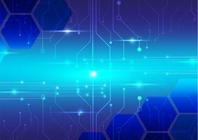 tecnologia digitale astratta con disegno vettoriale sfondo blu