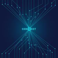 Circuito blu futuristico astratto sul concetto di collegamento di tecnologia digitale scura del fondo
