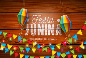 Illustrazione di Festa Junina con le bandiere del partito e lanterna di carta su fondo di legno d'annata. Vector Brasile giugno Festival Design